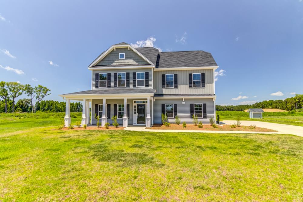 Clayton, NC New Home Elevation C with extended porch and side entry garage