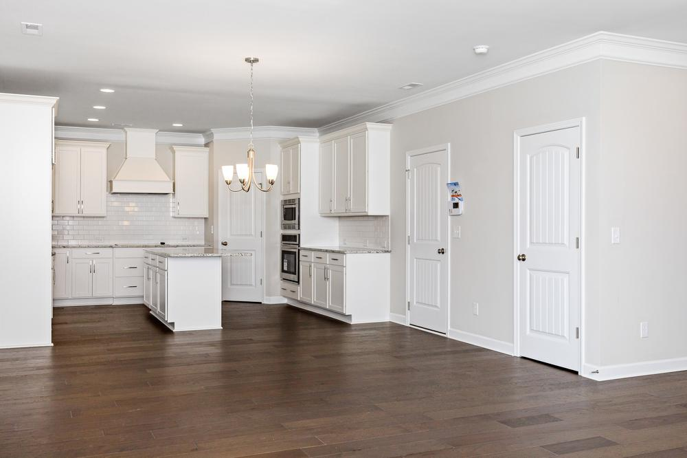 Gourmet kitchen layout with vent hood option. Sneads Ferry, NC New Home Gourmet kitchen layout with vent hood option.