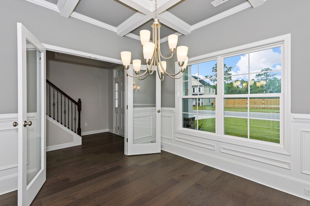 Formal dining room with french door option. Sneads Ferry, NC New Home Formal dining room with french door option.