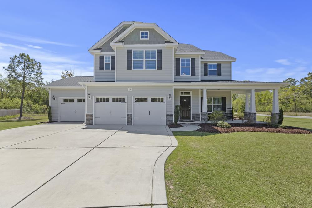 Elevation K with 3 car option. 4br New Home in Wendell, NC Elevation K with 3 car option